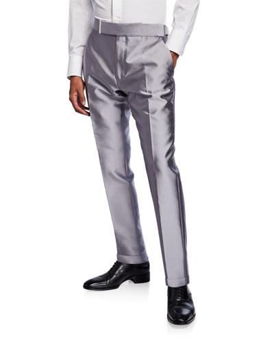 Men's Atticus Sateen Straight-Leg Trousers