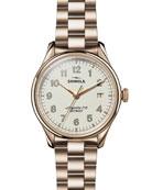 Shinola 38mm Vinton Men's Bracelet Watch, White/Champagne