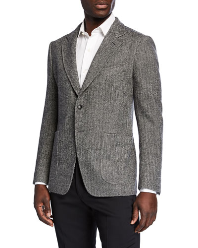 Men's Herringbone Cashmere-Blend Two-Button Jacket