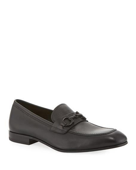 Salvatore Ferragamo Men's Asten Leather Slip-On Bit Loafers