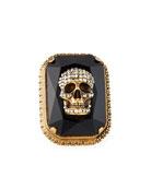 Alexander McQueen Men's Studded Skull Jeweled Ring