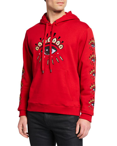 Men's Red Eye Embellished Hoodie
