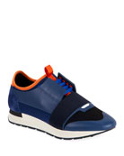 Balenciaga Men's Race Runner Mesh Sneakers