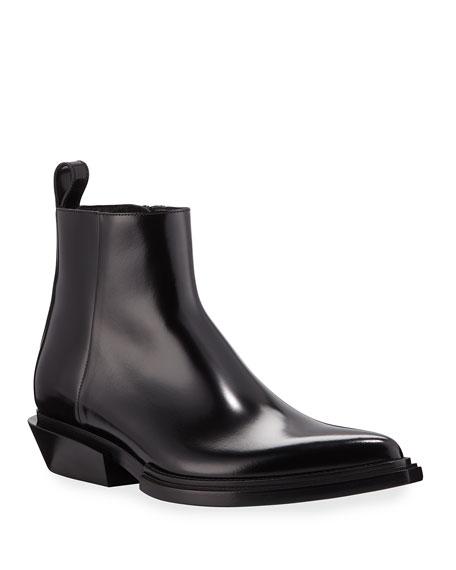 Balenciaga Men's Santiag Shiny Calfskin Boots