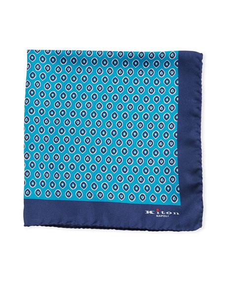 Kiton Small Ovals Silk Tie, Blue