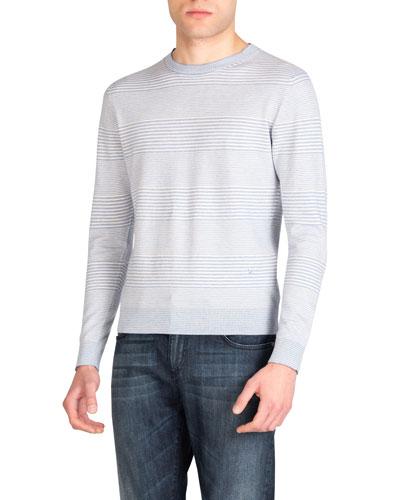 Men's Cotton-Cashmere Striped Crewneck Sweater