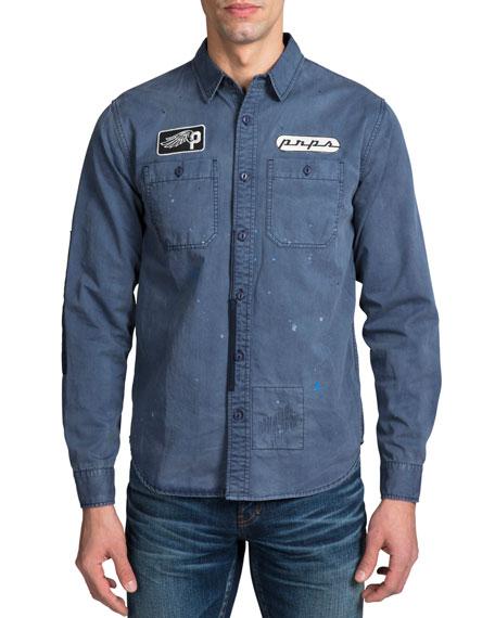 PRPS Men's Long-Sleeve Worker Woven Sport Shirt