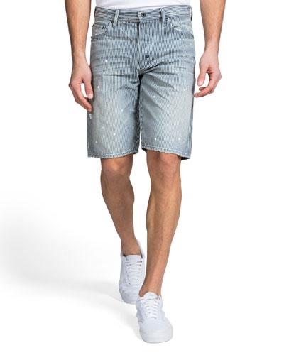 Men's Hickory Stripe Paint Detail Denim Shorts