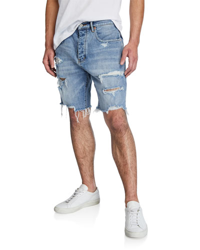 Men's Relaxed-Fit Destroyed-Denim Shorts