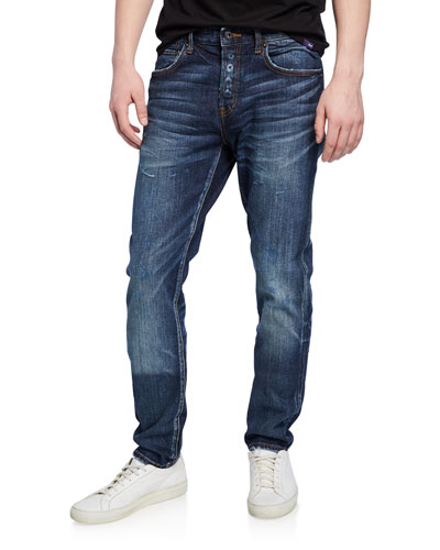 Men's Le Sabre Dark-Wash Stretch Denim Jeans with Abrasions