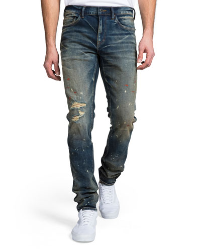 Men's Skinny-Fit Dark Wash Rip and Paint Denim Jeans