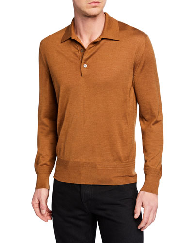 Men's Long-Sleeve Cashmere-Silk Polo Shirt