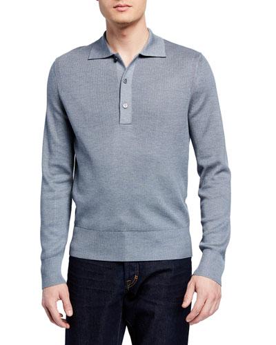 Men's Rib-Knit Long-Sleeve Polo Shirt
