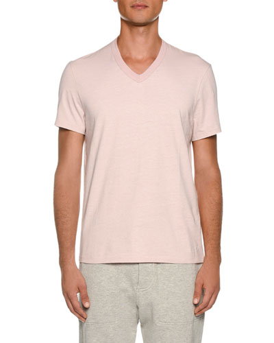 Men's Short-Sleeve V-Neck T-Shirt, Pink