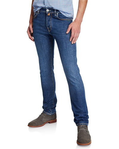 Men's Washed Denim Straight-Leg Jeans