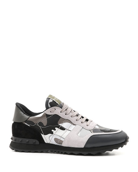 Valentino Men's Rockrunner Camo Leather Sneakers