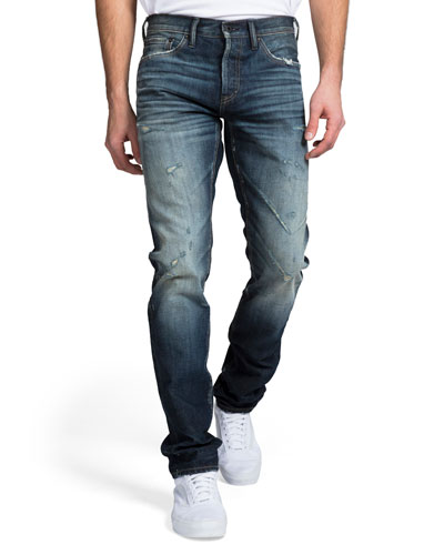 Men's Dark Wash Whisker and Abrasion Denim Jeans