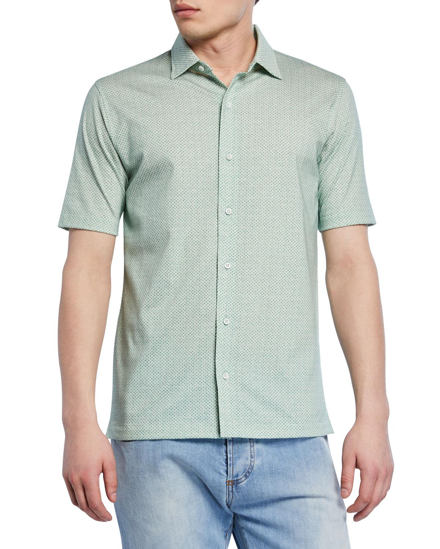 Isaia T-shirts MEN'S GEOMETRIC SHORT-SLEEVE SPORT SHIRT