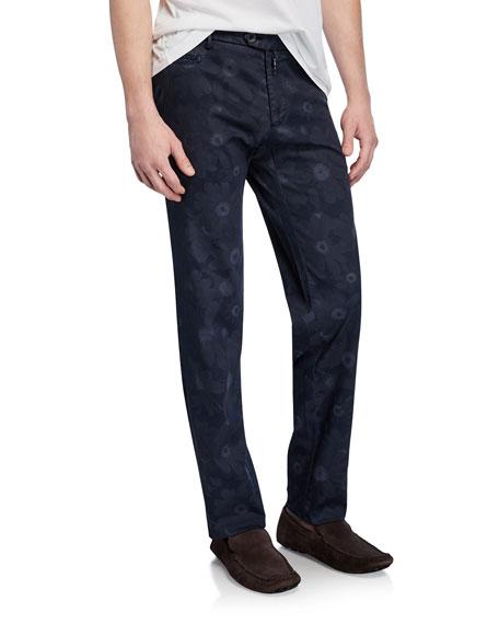 Isaia Men's Tonal Floral-Print Straight-Leg Pants