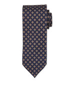 Bigi Medium-Flower Silk Tie, Dark Blue