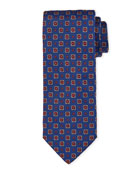 Bigi Medallion Silk Tie, Bright Blue