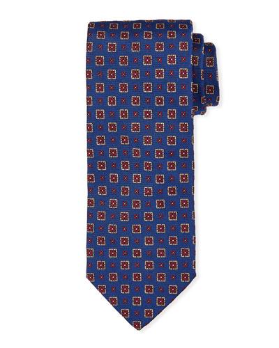 Medallion Silk Tie, Bright Blue