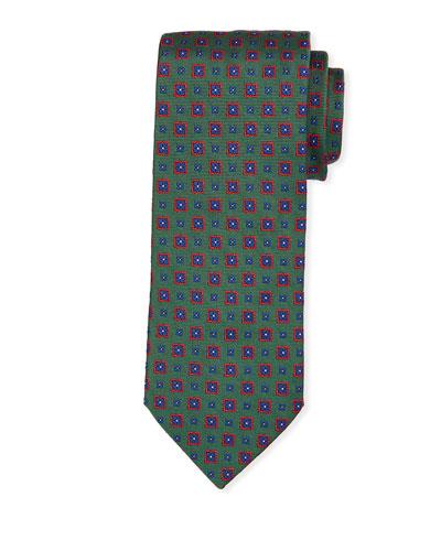 Medallion Silk Tie, Green