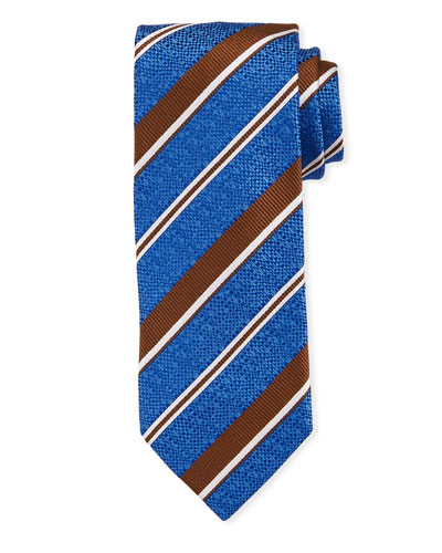 Striped Silk Tie, Blue