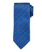 Bigi Floral Pattern Silk Tie, Blue