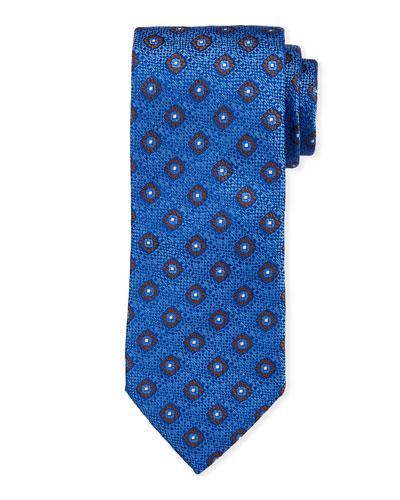Floral Pattern Silk Tie, Blue