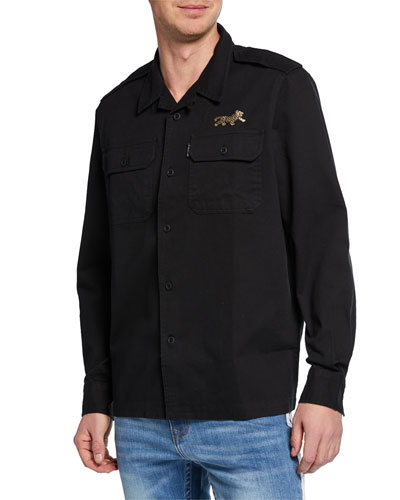 Men's Patch-Pocket Twill Military Shirt