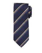 Bigi Thin Stripe Silk Tie, Navy