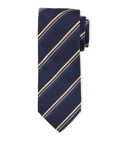 Thin Stripe Silk Tie, Navy