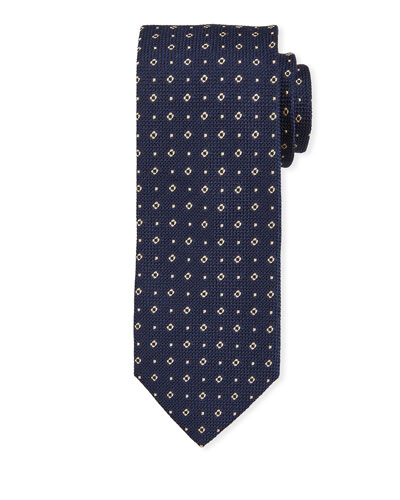 Small Square Silk Tie, Navy