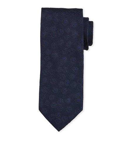 Tonal Floral Silk Tie, Navy