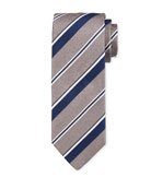 Bigi Thin Stripe Silk Tie, Gray
