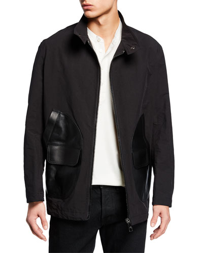 badbb2062 Quick Look. Neil Barrett · Men's Zip-Front Bomber Jacket with Leather  Pockets