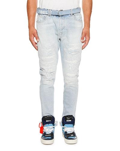 Men's Slim-Fit Low Crotch Denim Jeans