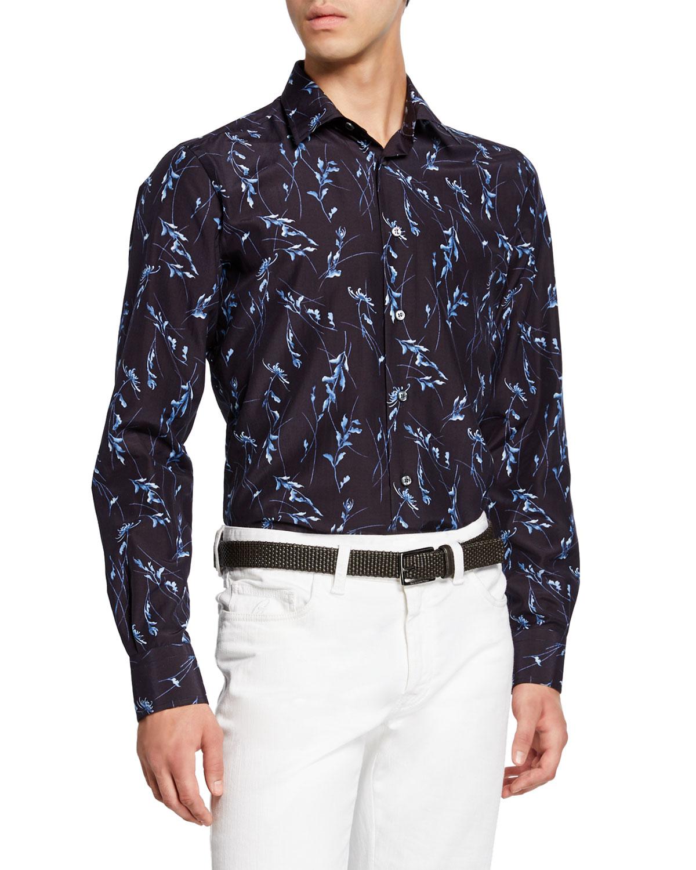 Brioni T-shirts MEN'S FLORAL-PRINT SPORT SHIRT