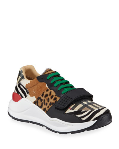 Men's Ramsey Signature Check & Mixed Animal-Print Sneakers
