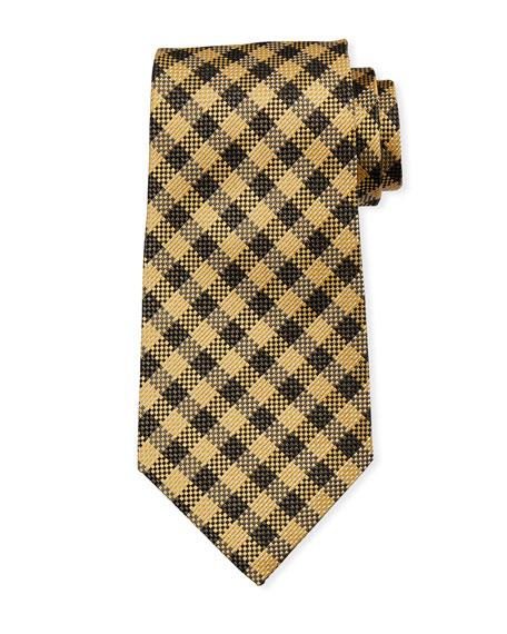 TOM FORD Gingham Plaid Silk/Linen Tie, Brown