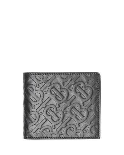 Men's Monogram-Embossed Bifold Leather Wallet