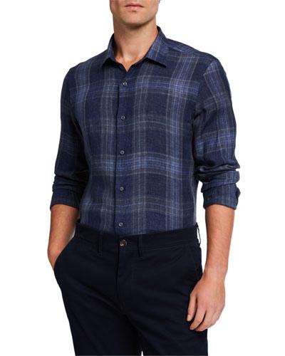 Men's Large-Plaid Linen Sport Shirt