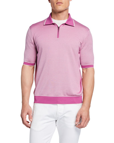Men's Zip-Front Polo Shirt