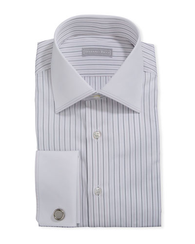 Men's Dash-Print Dress Shirt w/ French Cuffs