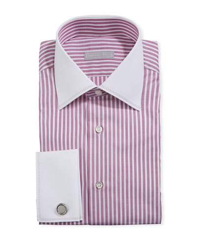 Men's Striped Dress Shirt w/ French Cuffs