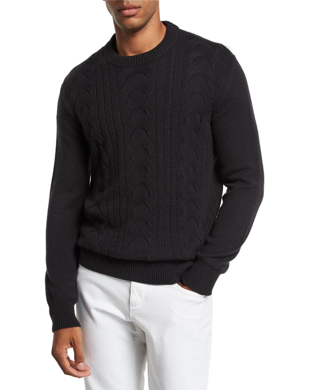 LORO PIANA Men's Cabled Cashmere Crewneck Sweater
