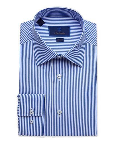 Men's Trim-Fit Classic Stripe Dress Shirt