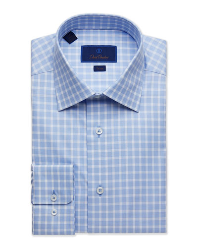 Men's Trim-Fit Tonal Gingham Dress Shirt