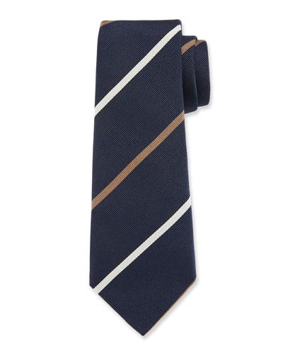 Bicolor Striped Silk Tie